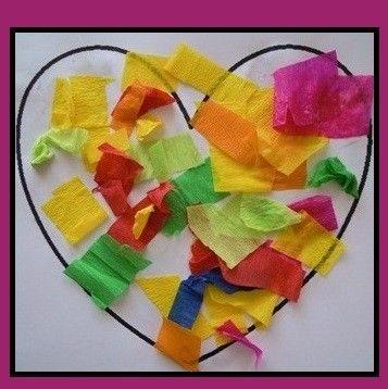 Activite coeur - Activite avec papier crepon ...